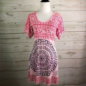 Free People Pink Mandala Boho Tunic Sz XS Burnout